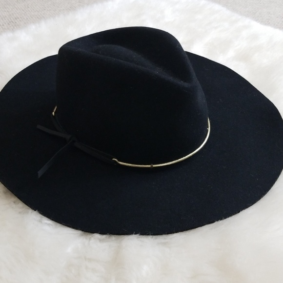 065119fc3cd Brixton Accessories - Brixton Black Irene Wool Fedora Hat w  Gold Accent